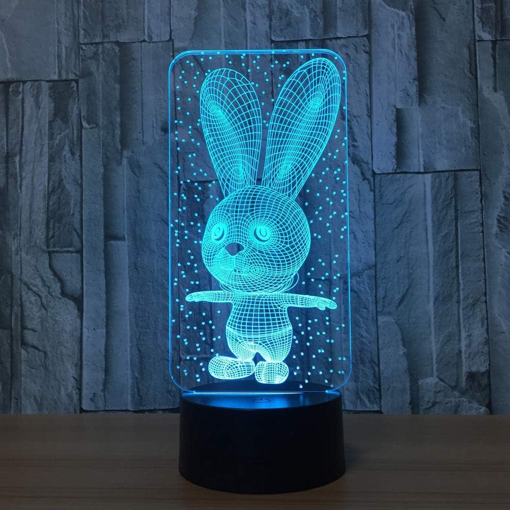 BFMBCHDJ Lámpara de mesa de conejo 7 colores Lámpara de escritorio ...