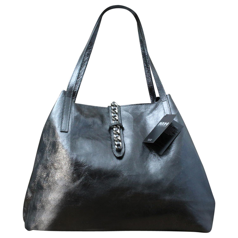 Made in Italy Luxus Damen Schultertasche Beutel Leder Bicolor Metallic Silber, Farbe:Darksilver