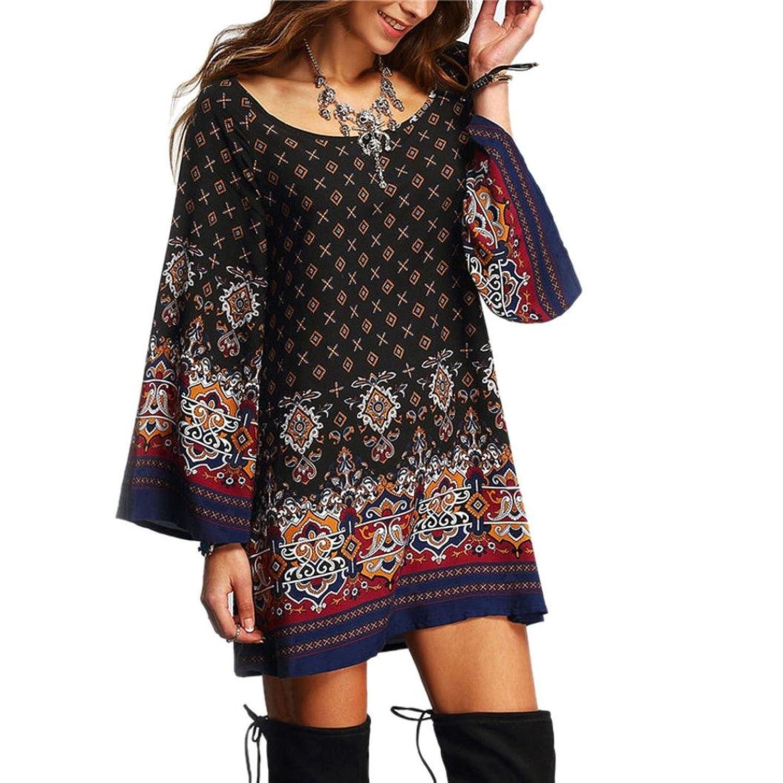 Sunnywill Long Sleeve Vintage Party Strand Kleid Lässig Vestidos für ...