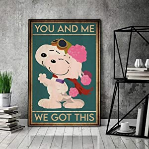VinMea Metal Tin Sign,Snoopy The Peanuts Movie You and Me We Got This Charlie Brown Family Aluminum Sign Wall Art Decor Metal Sign,Public Sign,Decoration Sign 8x12 Inches