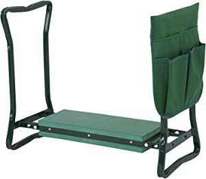 Dj siphraya Foldable Kneeler Garden Kneeling Bench Stool Soft Cushion Seat Pad with Tool Pouch Green Made of Steel Tubing EVA Foam and Plastic Dimension 24 x 10.8 x 19.7 Inch Multiple Storage Pouch