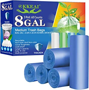 OKKEAI 8 Gallon Kitchen Trash Bags Biodegradable Garbage Bags Thicker 0.98 MIL Recycling Bags Large Wastebasket Liners for Home Office, Lawn,Bathroom,60 Count (Fits 7-10 Gallon Bins)