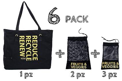 d0b9f036e Bolsa ecológica de tela para supermercado reutilizable. Incluye bolsas para  frutas y verduras. Ideal