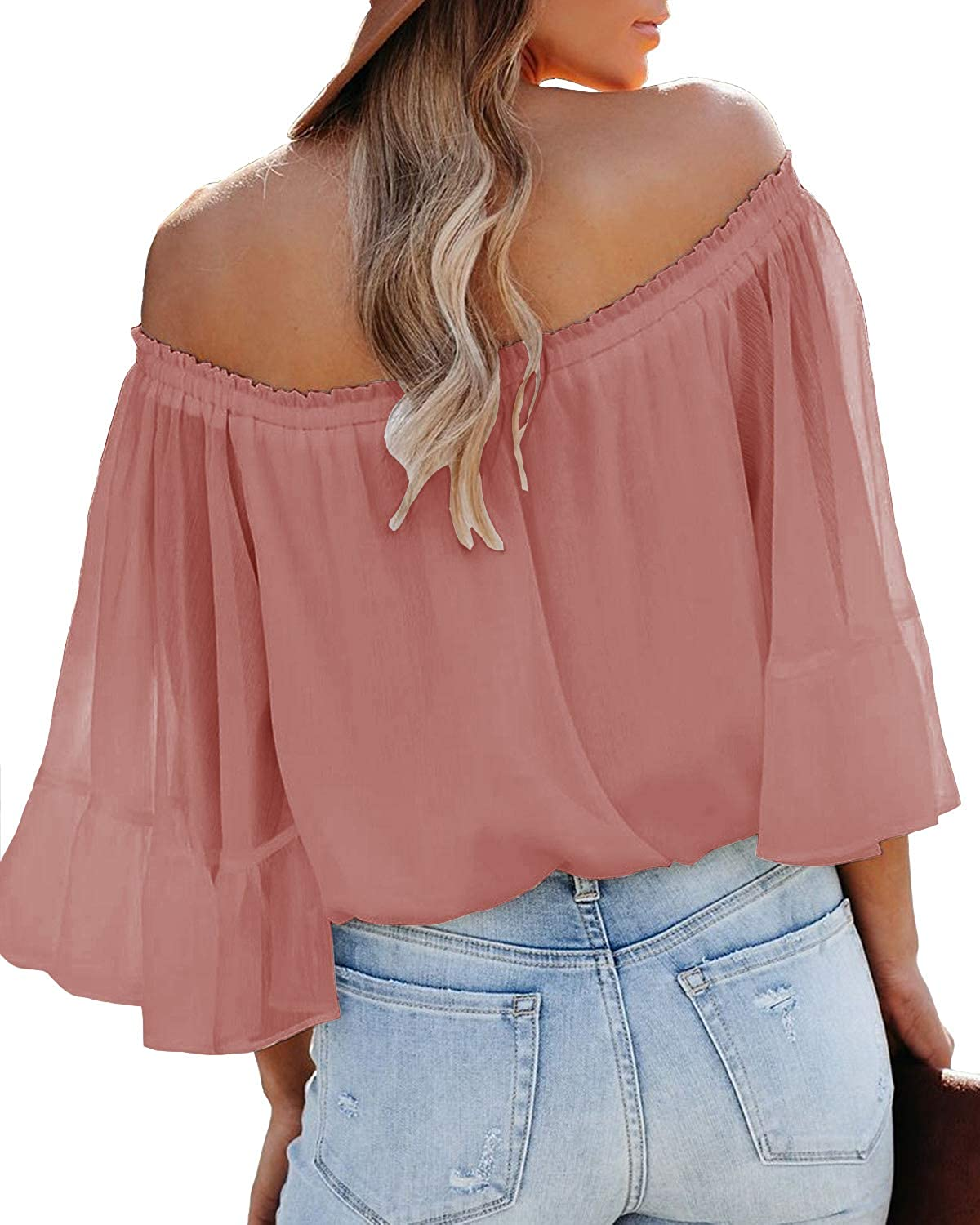 SENSERISE Womens Off The Shoulder Tops Casual Loose Chiffon Bell Sleeve Blouse Shirts