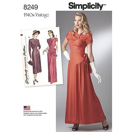Patrón de Costura Simplicidad 8249 R5 – Patrones de Costura para Vintage 1940 de Vestidos