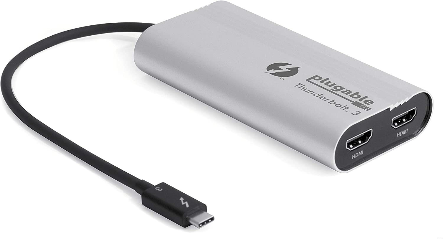 Plugable Thunderbolt 3 to Dual HDMI 2.0 Display Adapter Compatible with MacBook Pro Systems (201987), and Dell XPS. Project or Stream to Up to 2X 4K 60Hz Monitors (Thunderbolt 3 Certified)