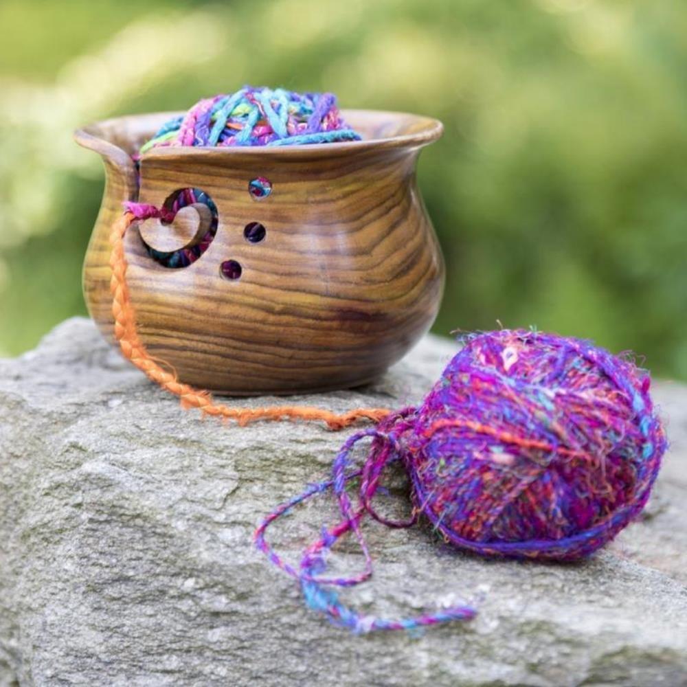 Darn Good Yarn Curvy Handmade Wooden Yarn Bowl 4 inch x 6 inch Indian Rosewood