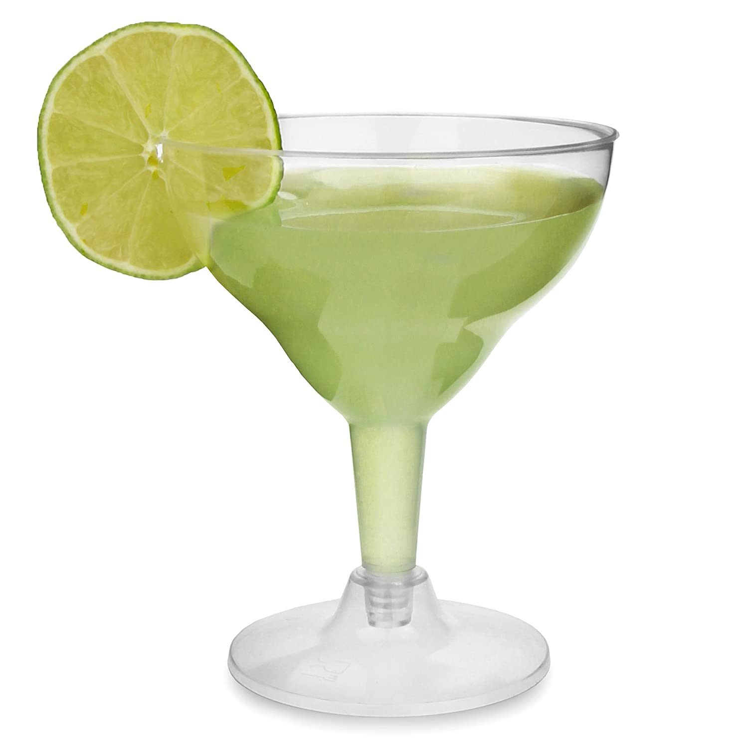 bar@drinkstuff Disposable Margarita Glasses 5.5oz/155ml - Set of 12 - Clear Plastic 2-Piece Cocktail Glasses H&PC-68553