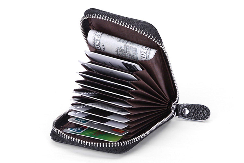 Kreditkartenhüllen Geldbörsen, itPlus Wallet Kreditkartenetui Echtes Leder Kreditkarten Geldbörsen -schwarz (12 Slots)