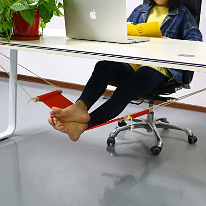 AccMart Adjustable Mini Foot Rest Stand Office Desk Feet Hammock Orange