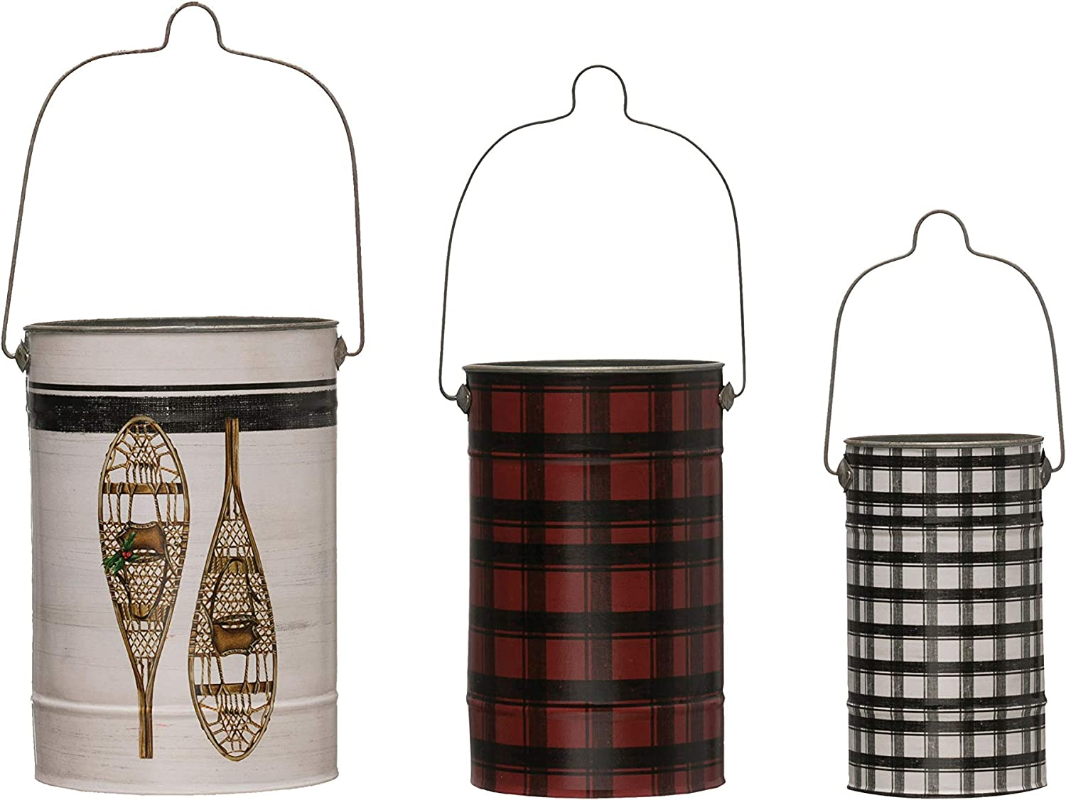 Creative Co-op Metal Buckets with Handles (Set of 3 Sizes) Containers