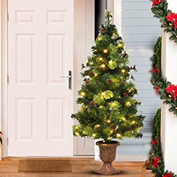 Goplus 4FT Christmas Tree Pre-Lit Tabletop Artificial Entrance Tree with Led  Lights, Gold - Amazon.com: Goplus 4FT Christmas Tree Pre-Lit Tabletop Artificial