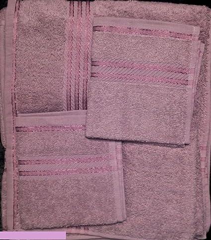 Lila malva 6 piezas Hotel gama toalla 550 GSM 100% algodón egipcio de cara de