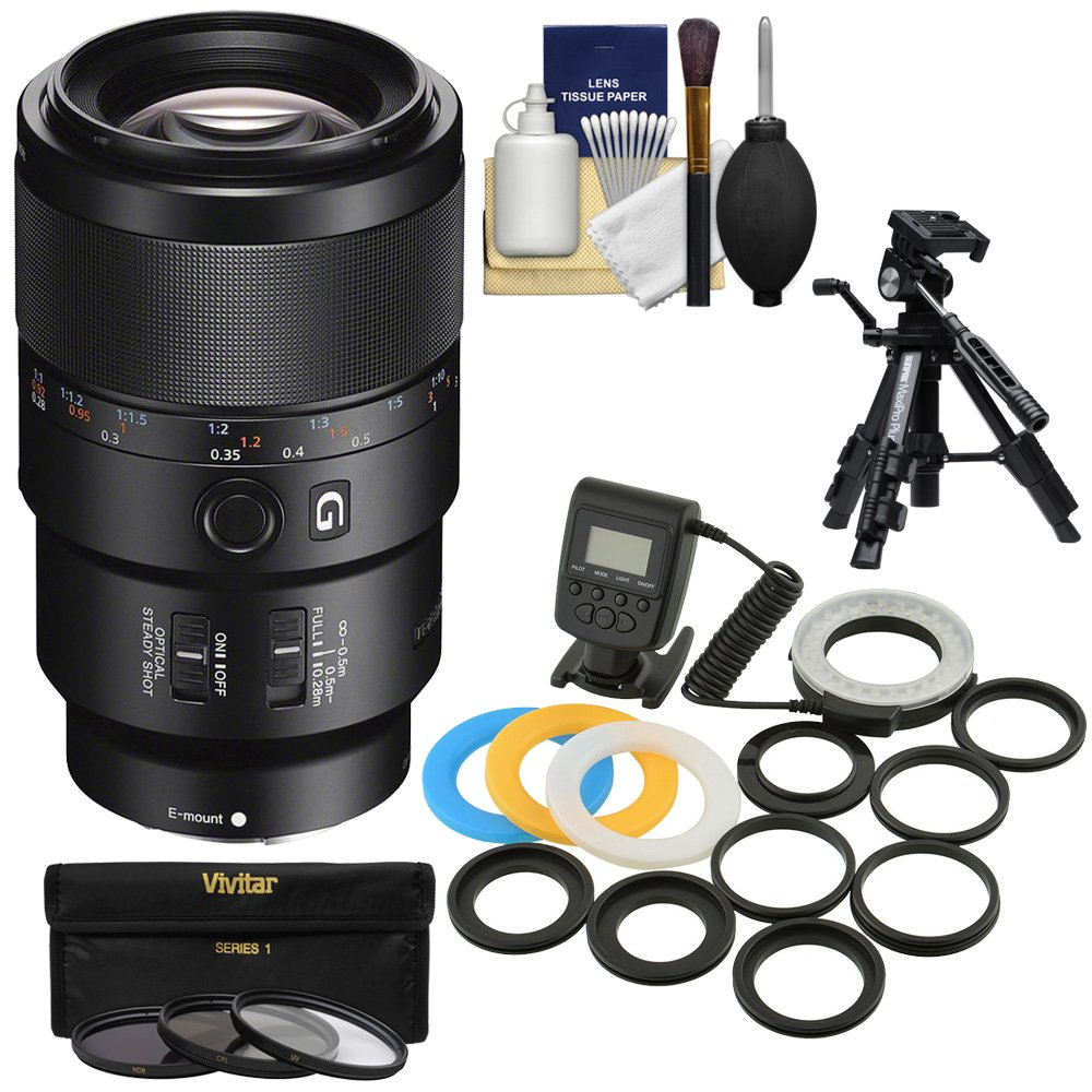 Sony Alpha E-Mount FE 90mm f/2.8 Macro G OSS Lens with 3 UV/CPL/ND8 Filters + Macro Tripod + LED Ring Light Flash Kit for A7, A7R, A7S Mark II Cameras