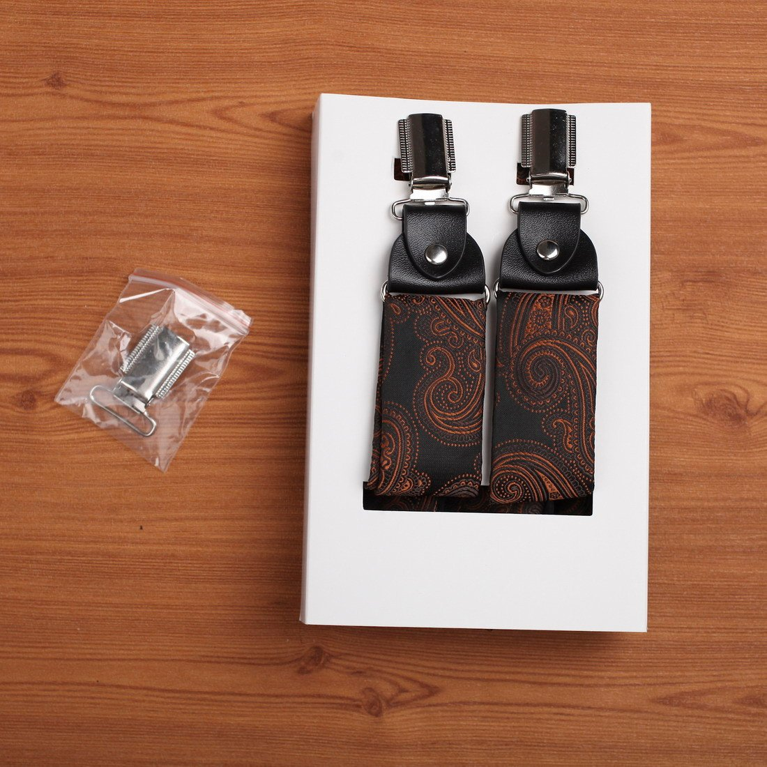 EFBB0045 Brown Patterned Extendable Microfiber Y-Back Suspenders Stainless Steel Clip Elegant Gift Giving By Epoint by Epoint (Image #6)