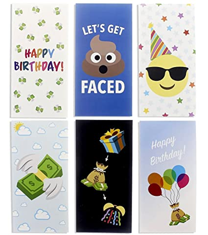 Birthday Cards Box Set 36 Pack Money Card Holders 6 Colorful Emoji Designs