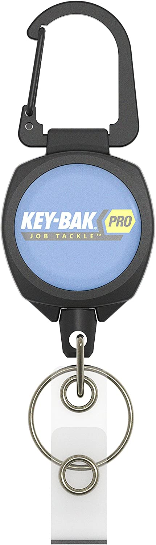 KEY-BAK Pro JobTackle I.D Tough Polycarbonate Case Zinc Alloy Metal Carabiner Badge Reel and Key Holder with a 24 Cord