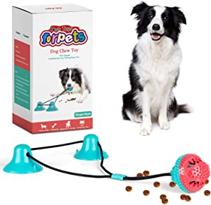 CPFK Dog Chew Suction Cup Tug of War Toy Multifunction Interactive Pet Aggressive Chewers Rope Puzzle Toothbrush Molar Bite Squeaky Toys Ball with Teeth Cleaning and Food Dispensing Features