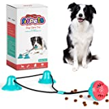 Dog Chew Double Suction Cup Rope Puzzle Toy Pet Aggressive Chewers Tug of War Toothbrush Multifunction Molar Bite Interactive Squeaky Toys Ball with Teeth Cleaning and Food Dispensing Features