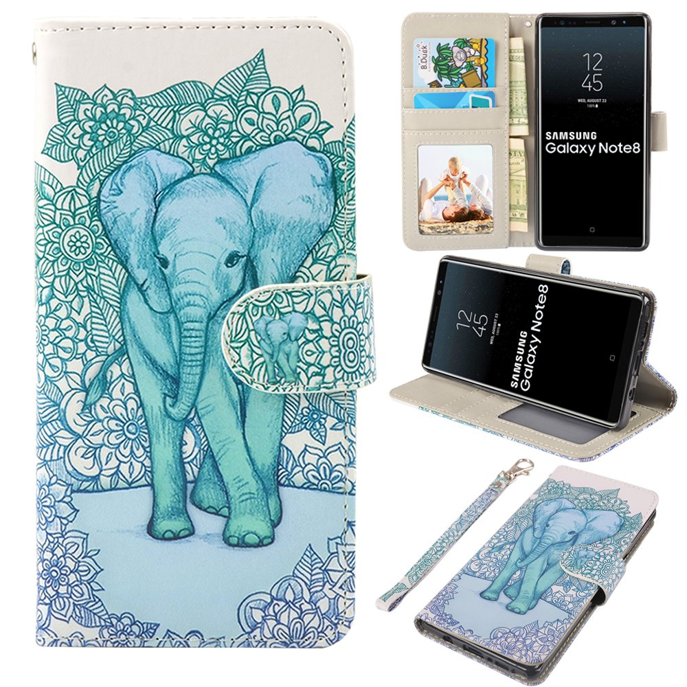 Galaxy Note 8 Case, MagicSky Galaxy Note8 Wallet Case, Premium PU Leather Wristlet Flip Case Cover with Card Slots & Stand for Samsung Galaxy Note8 - Elephant