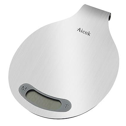 Aicok Báscula de cocina digital con soporte para colgar, función tara y alta precisión como pesacartas, fabricada en acero inoxidable cepillado, Weiß