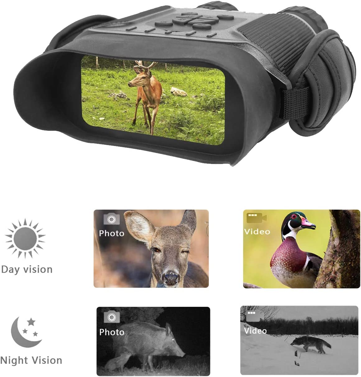 Guomu High Value Night Vision Binoculars NV900 with 4 LCD Widescreen, 4.5-22.5 x 40 Digital Infrared Dark Night Vision Scope Camera Take 5mp Photo 720p Video with Sound Up to 400m 1300ft