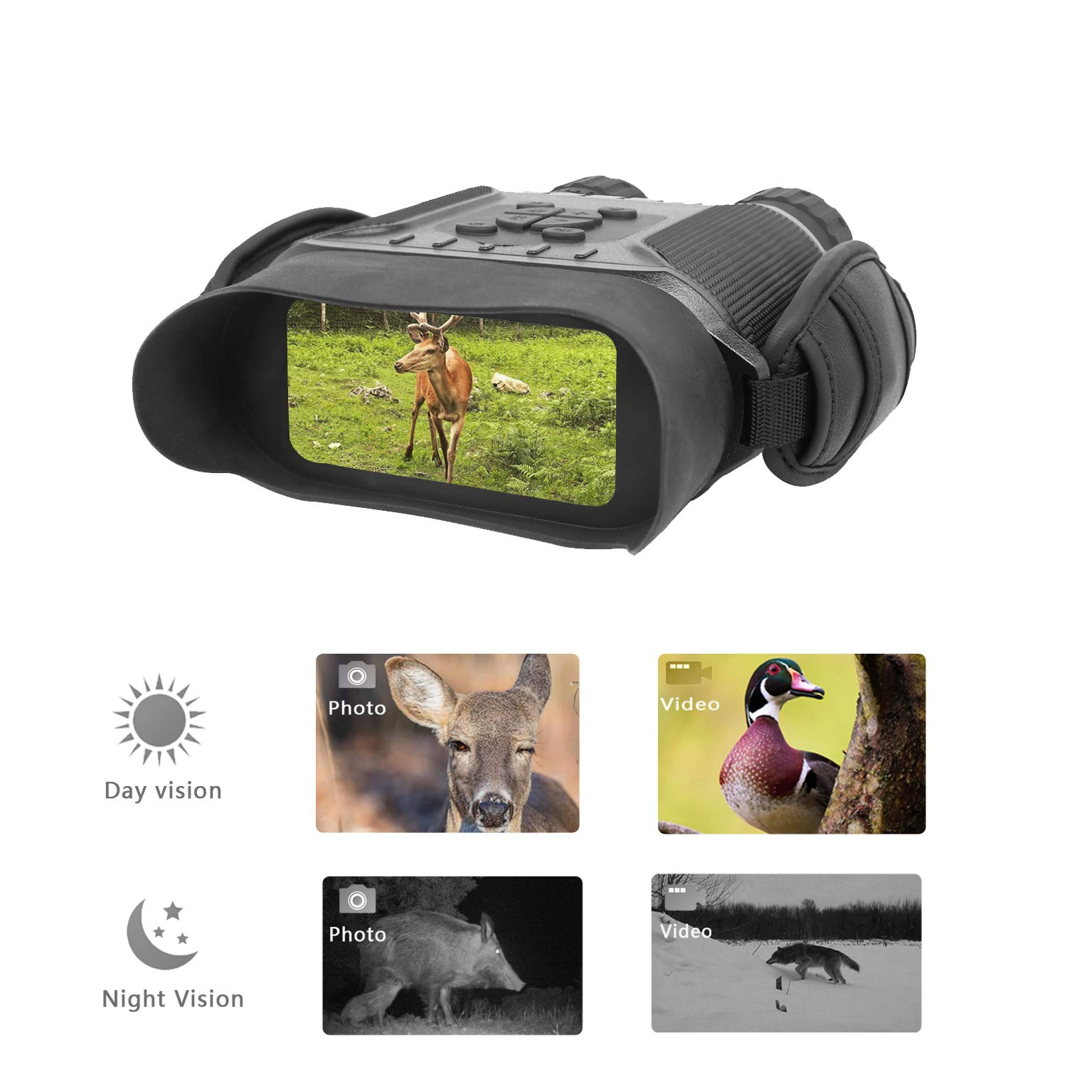 Guomu High Value Night Vision Binoculars NV900 with 4'' LCD Widescreen, 4.5-22.5 x 40 Digital Infrared Dark Night Vision Scope Camera Take 5mp Photo & 720p Video (with Sound) Up to 400m /1300ft by Guomu