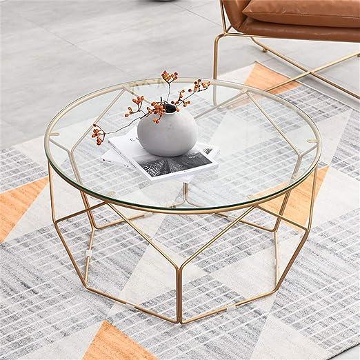KUKU-mesas de centro Mesa de Centro Redonda de Cristal ...
