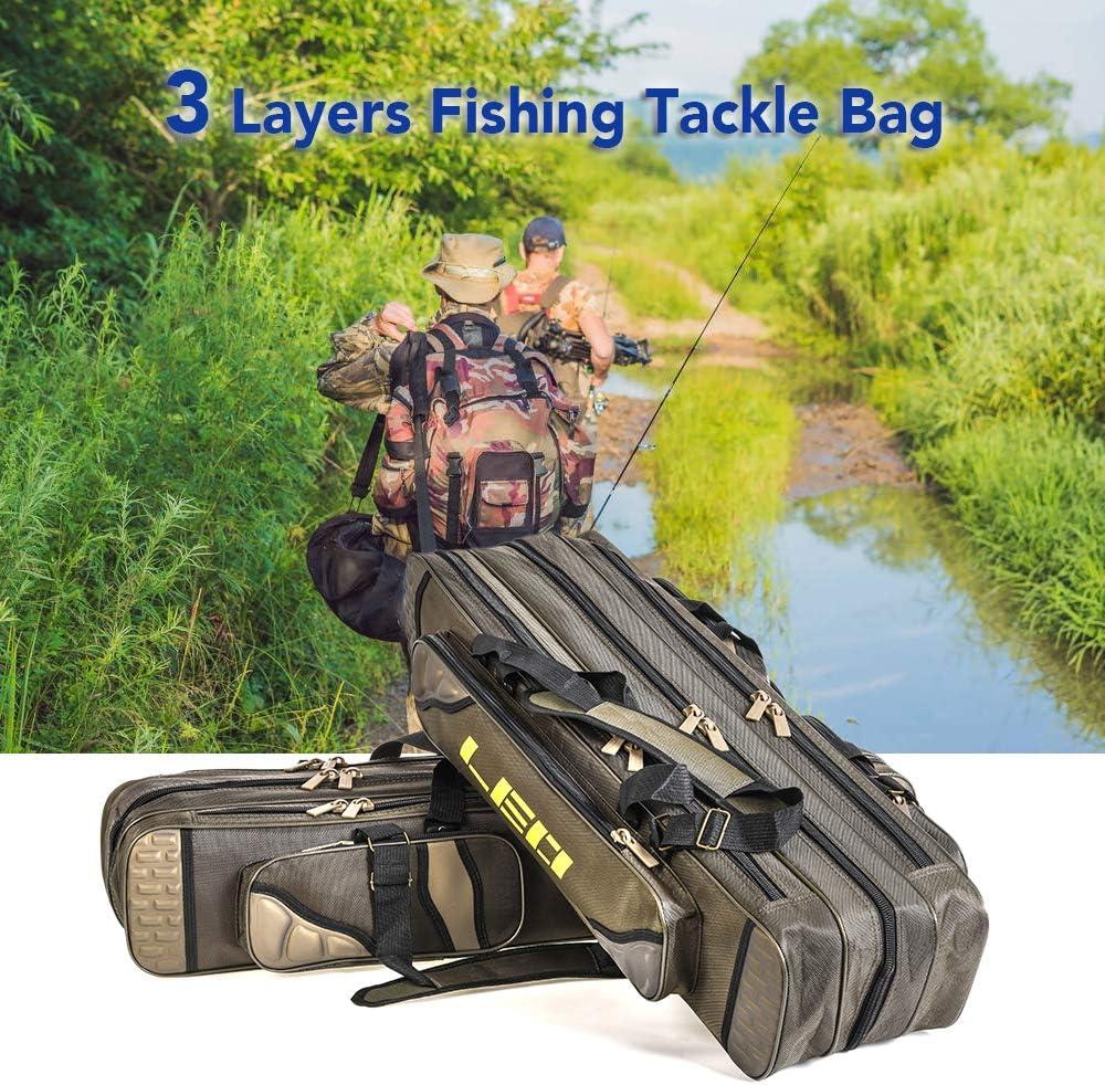 Walmeck 80cm//90cm 3 Layer Fishing Rod Bag Fishing Pole Tools Storage Bag Fishing Gear Tackle Bag Case