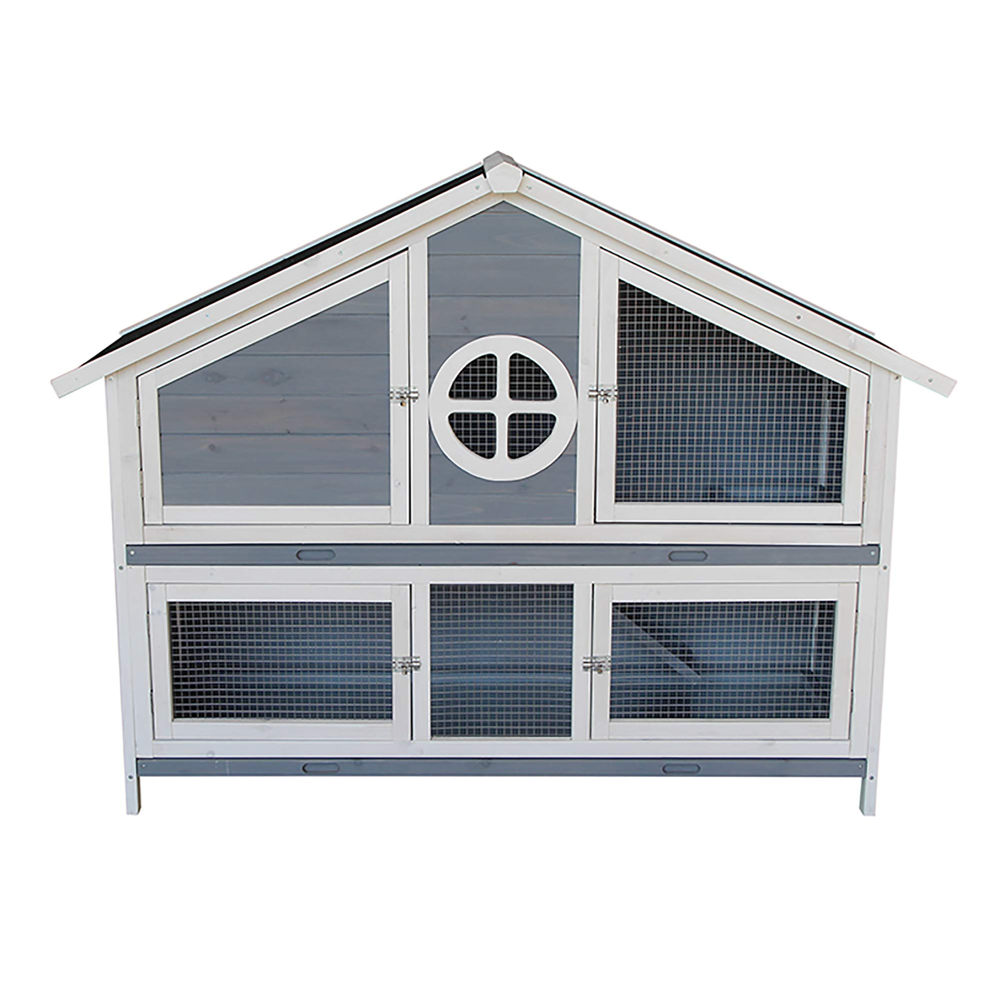Rhomtree Large Wooden Rabbit Hutch Chicken Coop Bunny Animal Hen Cage House Great for Rabbits, Chickens, Ducks, and Other Poultry (Grey) by Rhomtree (Image #2)