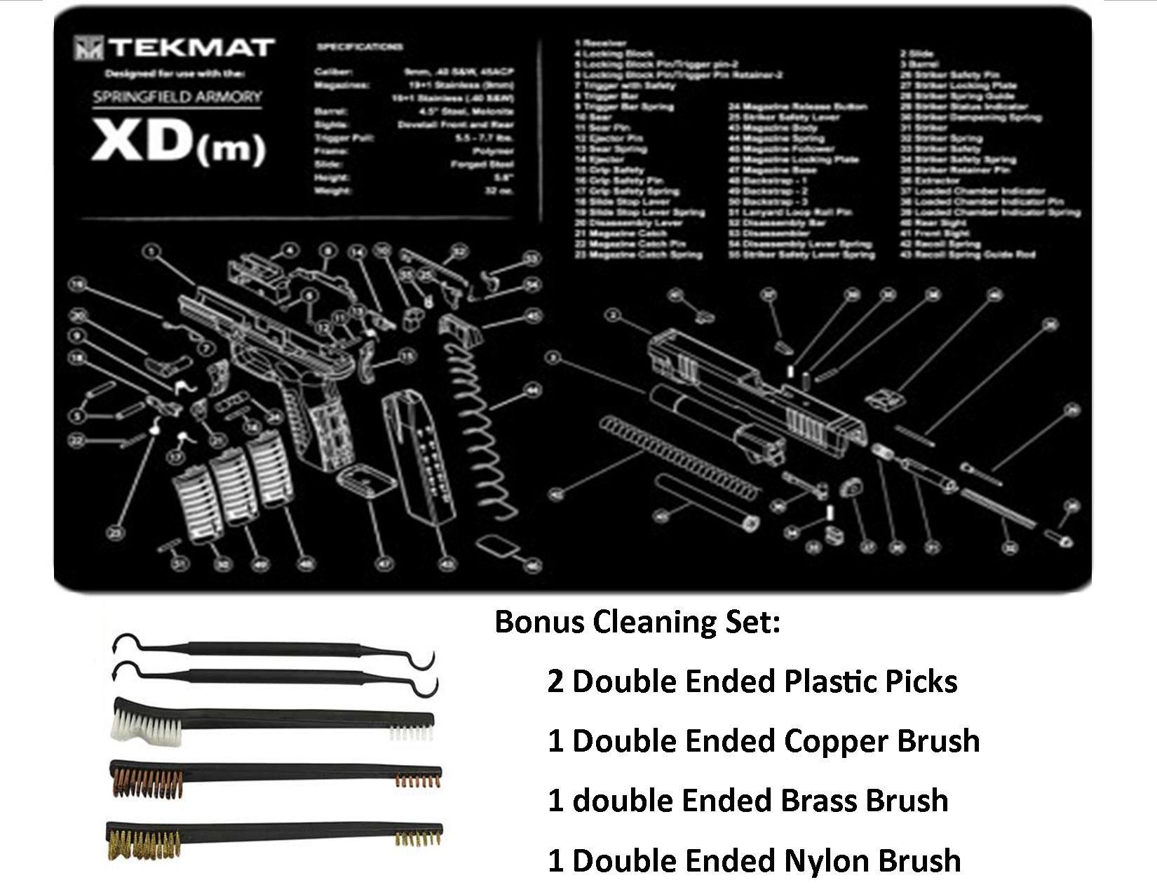 TekMat 11-Inch X 17-Inch Handgun Cleaning Mat with Springfield Armory XDm Imprint Bonus 5 oc Gun Cleaning Brush & Pick Set