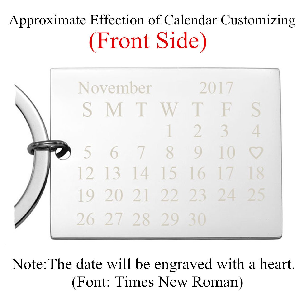 Personalized Master Free Engraving Custom Date Calendar Keychain with  Heart, Custom Date Pendant Key Ring for Lovers Couples Valentine's Day  Birthday
