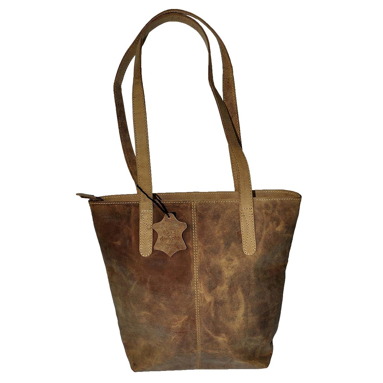 Äkta läder Shopper väska handväska 5 färger vintage axelväska ny – MU202 Tan-bh-vintage