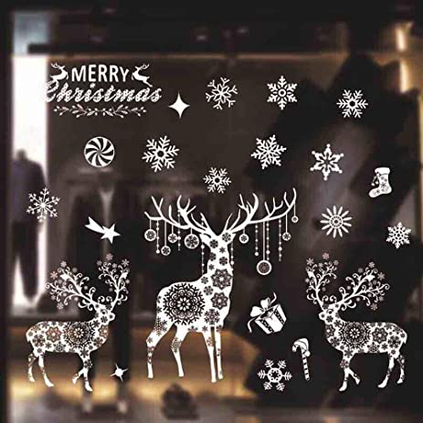 Amazoncom Christmas Snowflake Windows Stickers Clings White - Snowflake window stickers amazon
