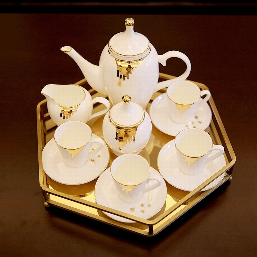 DHG European American Home Model Room Ceramic Coffee Set British Afternoon Tea Set Home Tray Decorations,A