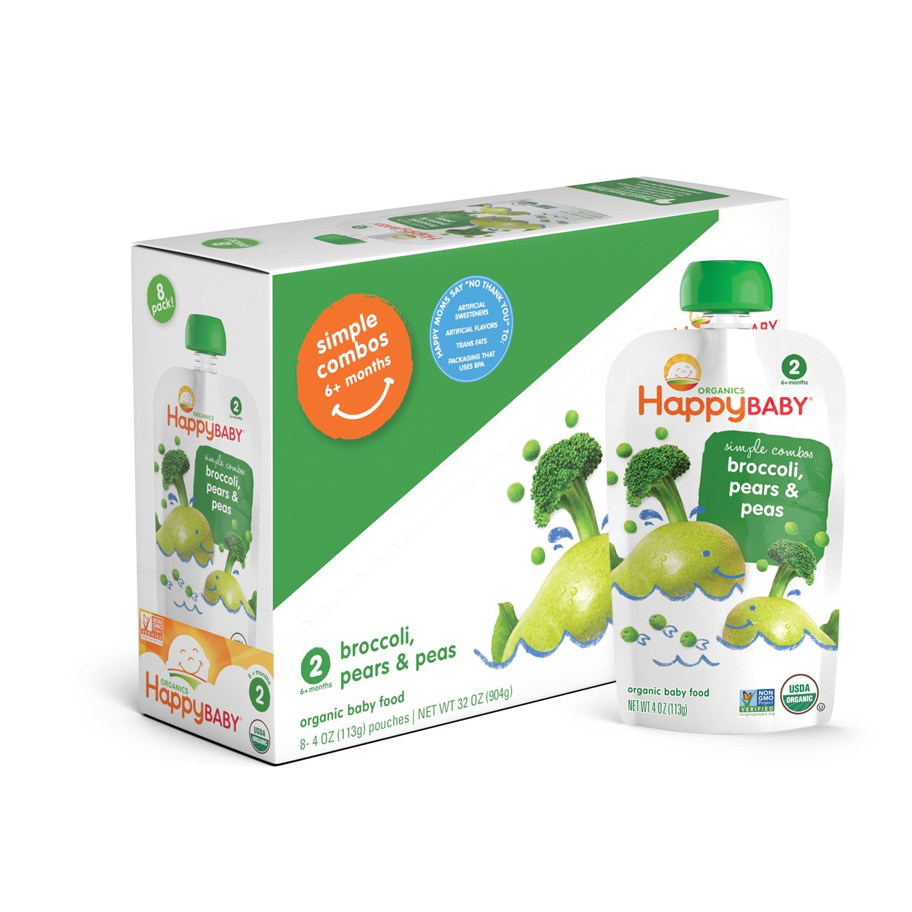 Amazon.com : Happy Baby Organic Stage 2 Baby Food Simple Combos Broccoli Pears & Peas, 4 Ounce Pouch (Pack of 16) Resealable Baby Food Pouches, ...