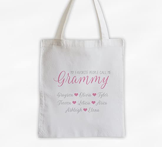 8396a066e3dd Amazon.com  My Favorite People Call Me Grandma Cotton Canvas Tote Bag  Personalized with Grandkids Names - Custom Gift for Grandparents