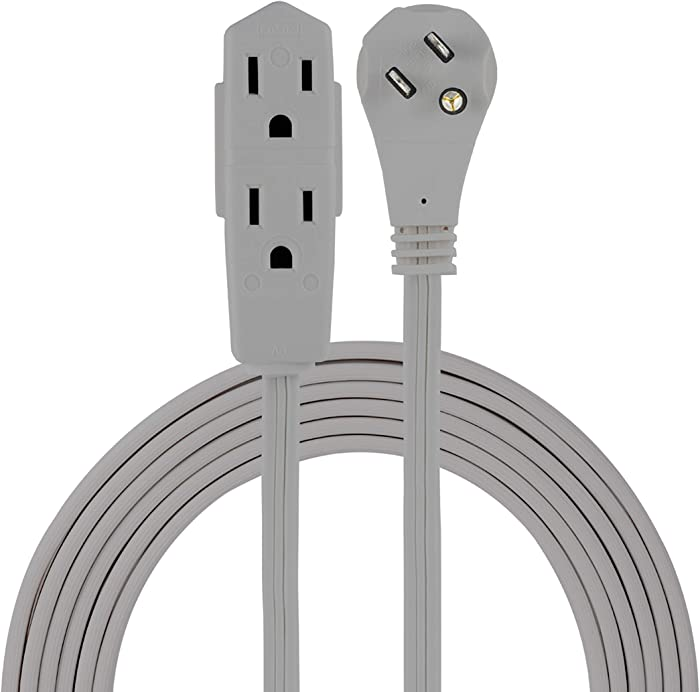 GE Indoor Office Extension Cord, Extra Long 15ft Power Cable, 3 Grounded Outlets, 3 Prong, Low-Profile Right Angle Flat Plug, 16 Gauge, UL Listed, Gray, 43026