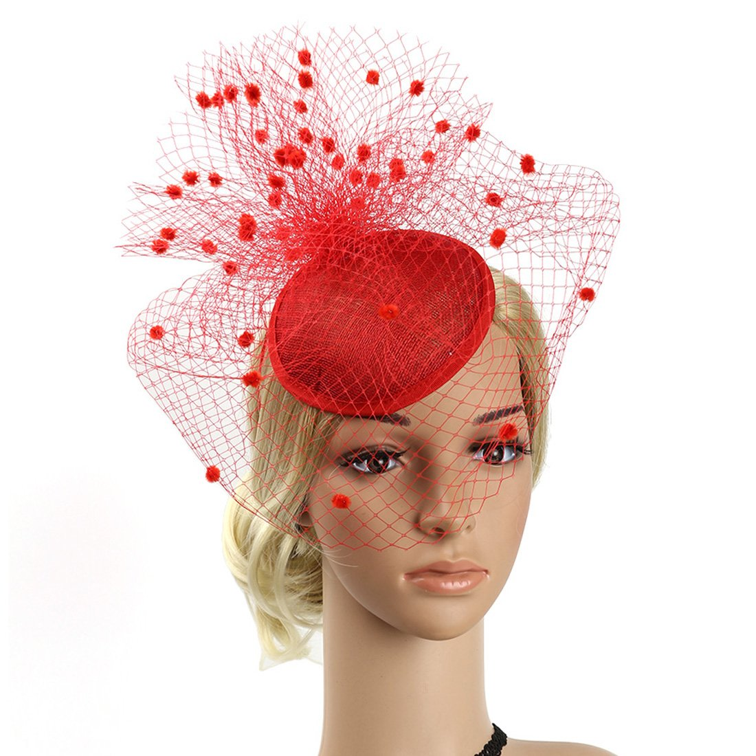 06cb11ff86402 Sinamay Feather Fascinators Womens Pillbox Flower Derby Hat for ...