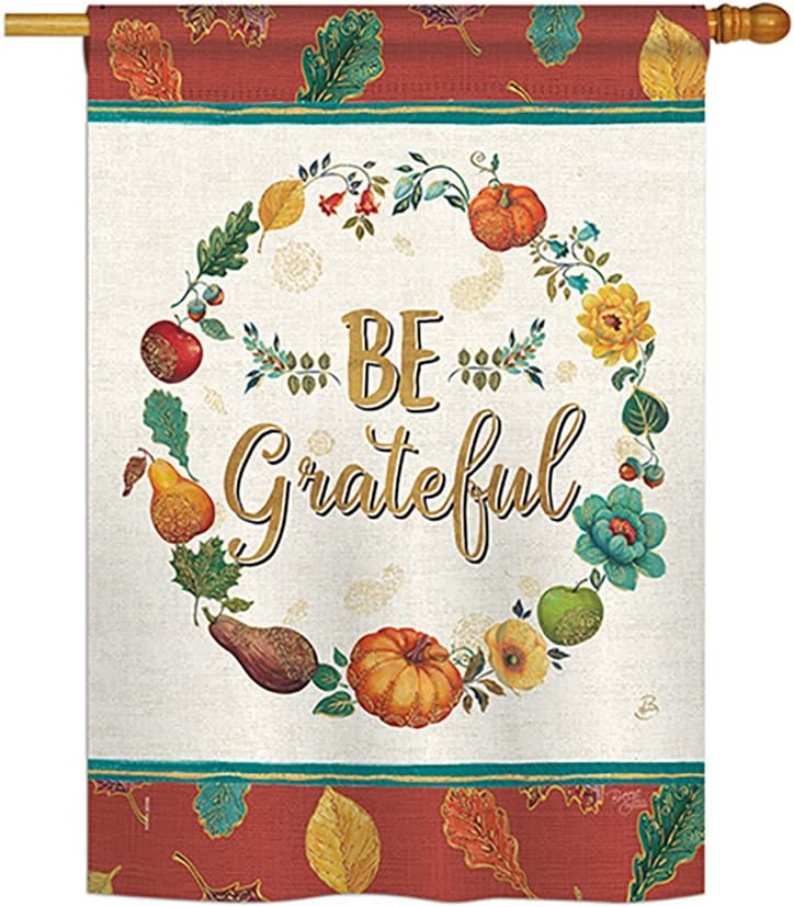 "Breeze Decor H113071 Be Grateful Fall Thanksgiving Decorative Vertical House Flag, 28"" x 40"", Multicolor"