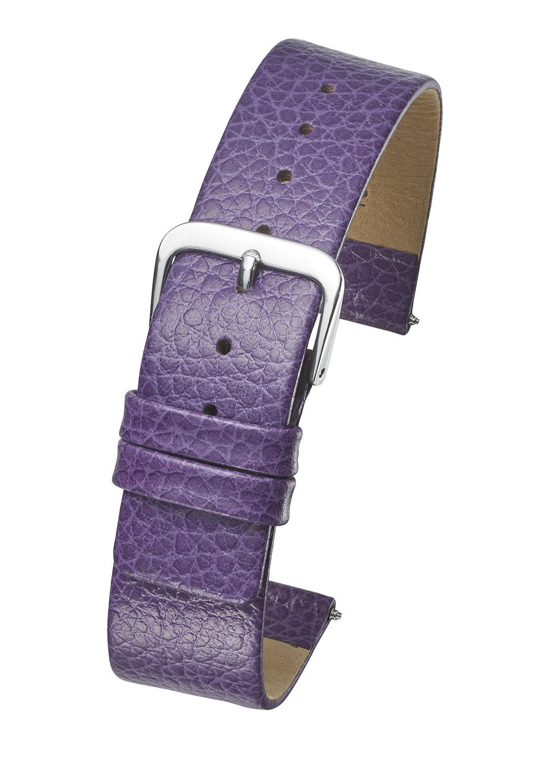 Genuine Leather Watch Band - Smooth Flat Leather Watch Strap 14mm - Purple