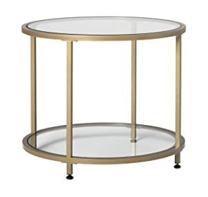 """Studio Designs Home 71033 Camber 2-Tier Modern 26"""" Round End/SideTable in Gold/Clear Glass"""