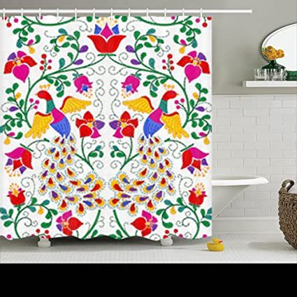 HomeCOO Design Shower Curtains Seamless Pattern Mexican Style Peacock 72 By Inches 100 Polyester