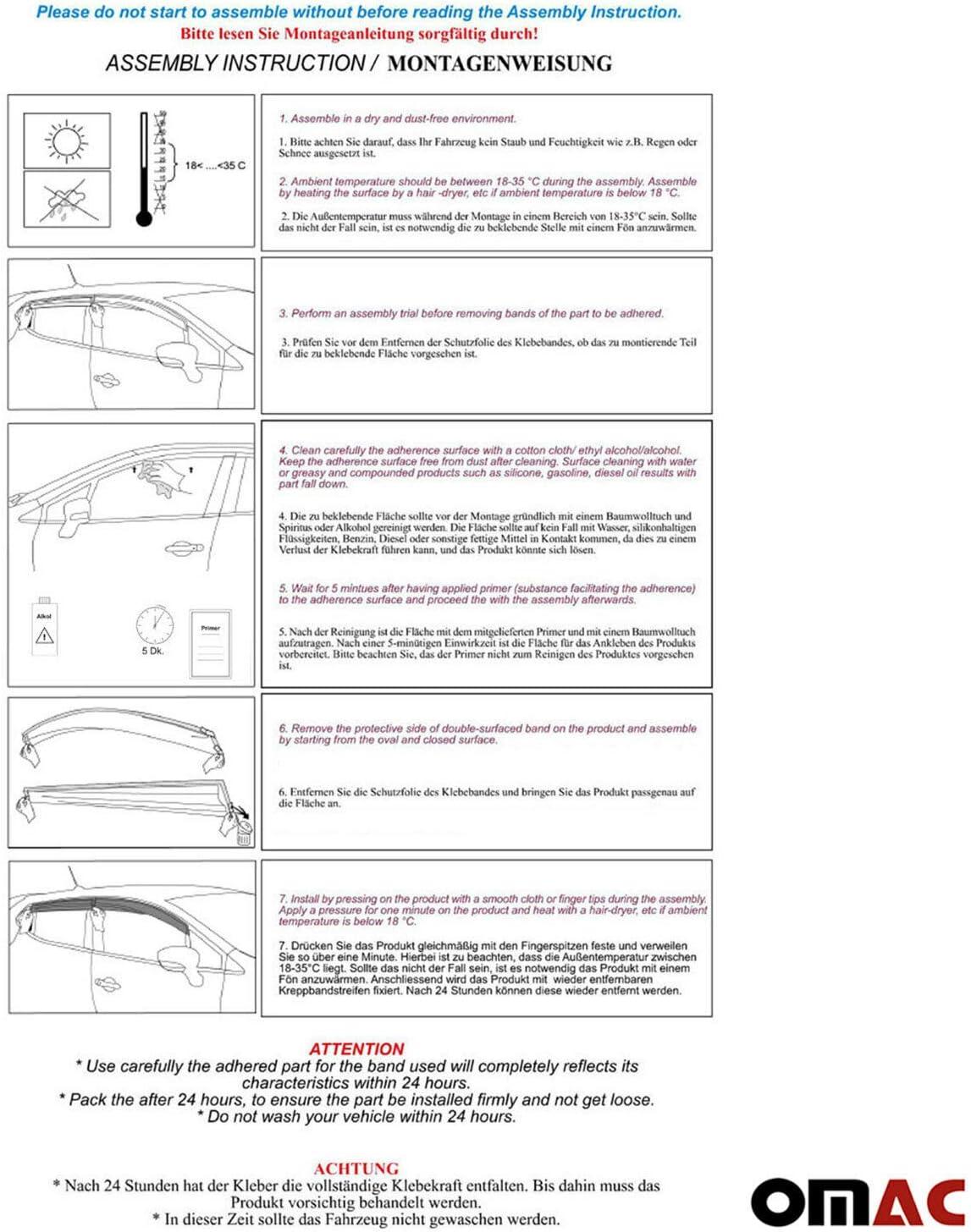 2 pcs Fits Ford Transit 2014-2020 OMAC Front Side Door Window Ventvisor Black Smoke Air Rain Wind Deflector Guards