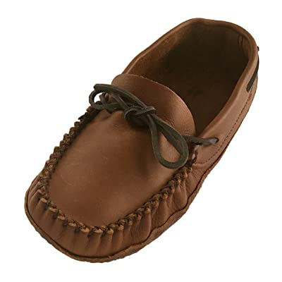 Wakonsun Men's Wide Width Earthing Grounding Natural Brown Leather Moccasins | Shoes