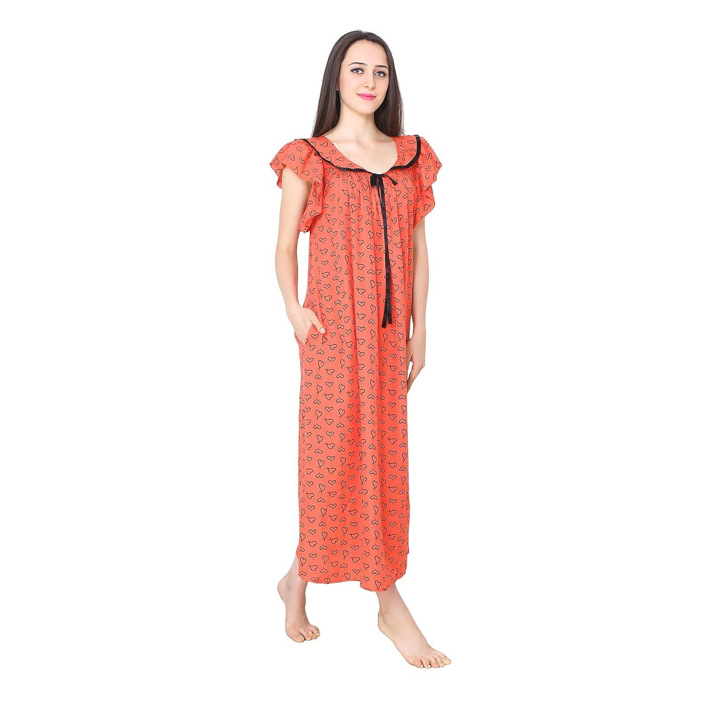 57533d9b89 Patrorna Cotton Silk Blend Women s A Line Blouseon Nighty Night Dress Gown  in Red Print (Size S-7XL