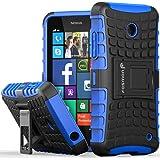 Fosmon [RUGGED] Nokia Lumia 630, Nokia Lumia 635 Case - HYBO-RAGGED Heavy Duty Hybrid Protective Cover with Kickstand - Retail Packaging (Blue)
