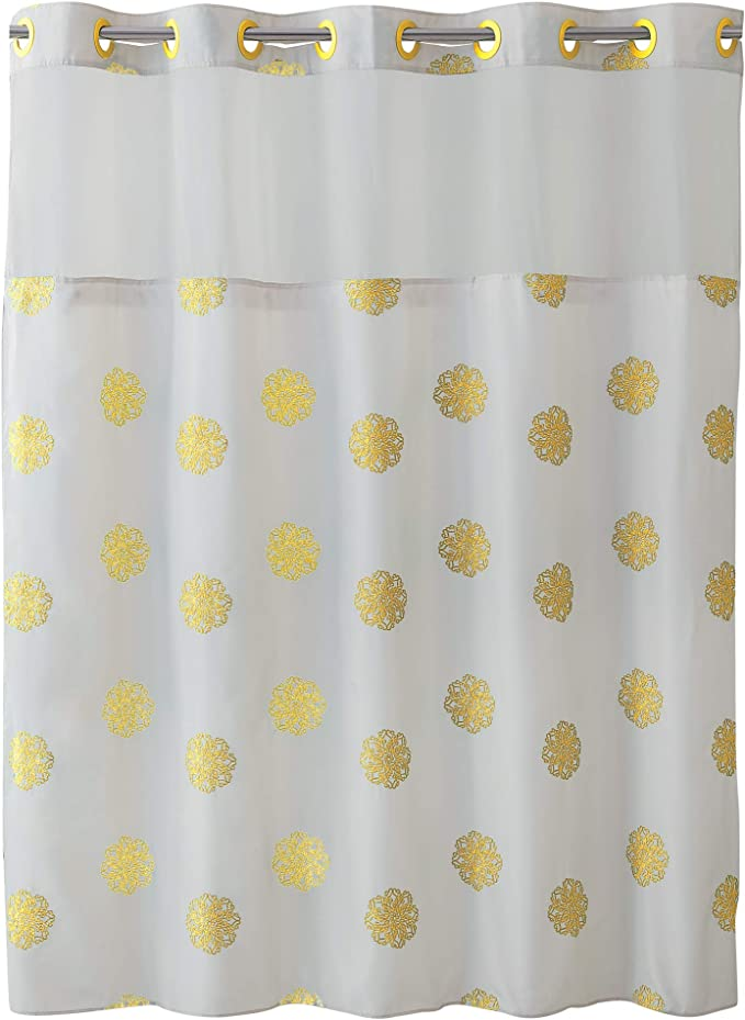Surefit Home Décor Hookless Sunburst Floral Shower Curtain With Peva Snap In Liner Easy Install Flex On Rings Split Grommet Machine Washable White Yellow Color Home Kitchen Amazon Com