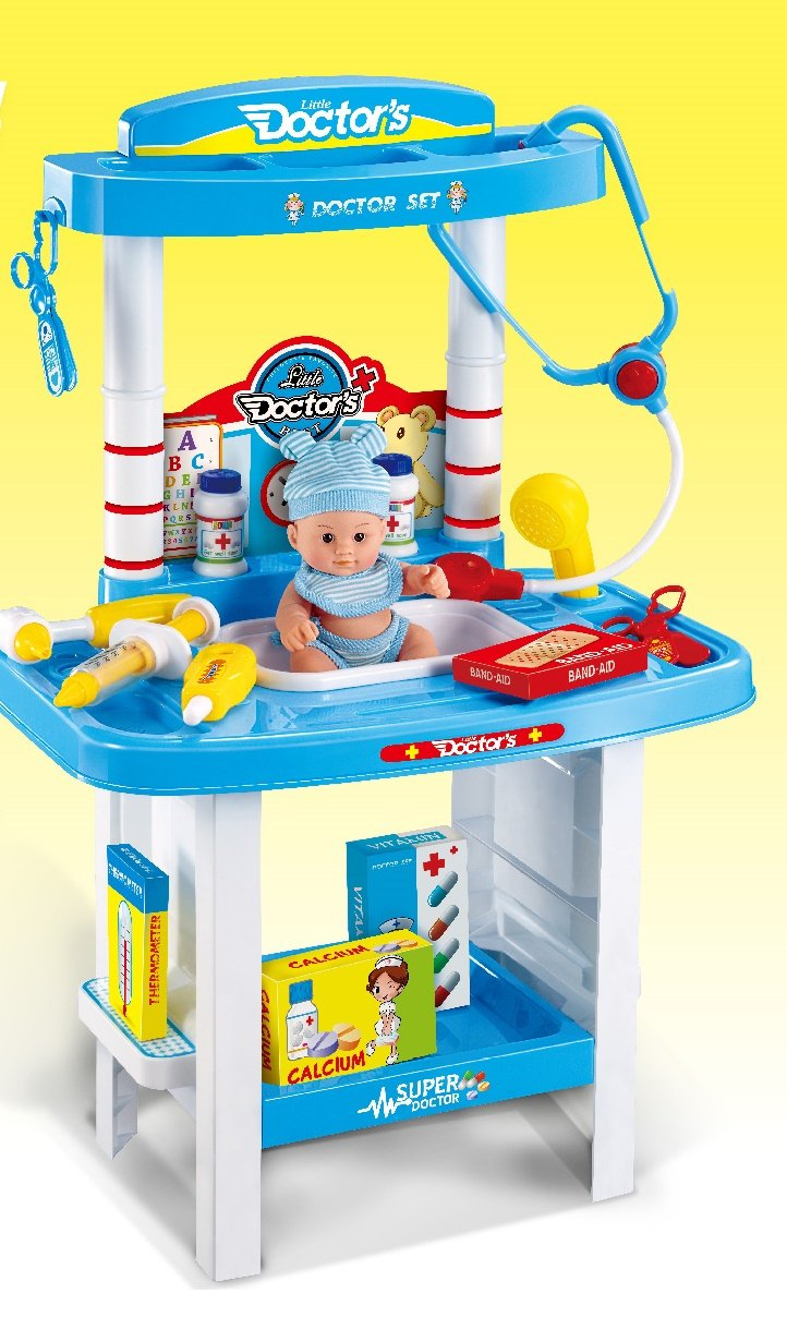 Little Doctors Set 24+ Dr Pieces with Comprehensive Set of Play Medical Equipment and Accessories, Plus a Lifelike Pretend Play Doll Patient