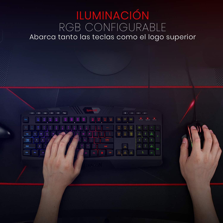 Redragon Harpe Pro K503A-RGB Teclado gaming Español - Teclado para juegos USB ligero, duradero, resistente al agua, ergonómico, silencioso - Teclado ...